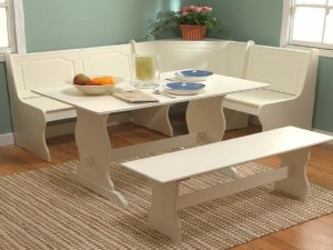 White-Kitchen-Dining-Room-Wood-Corner-Breakfast-Nook-Table-Bench-Chair